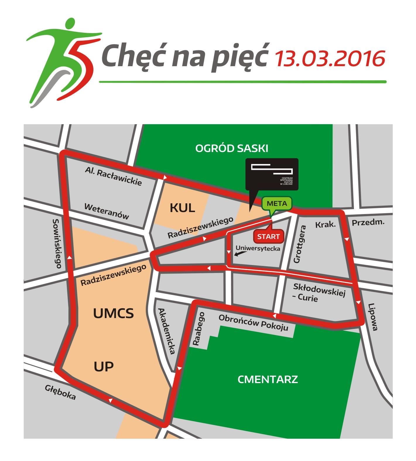 Trasa Chęć na Pięć (www.maraton.lublin.eu)